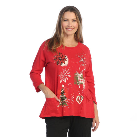 "Jess & Jane ""Treasures"" Mineral Washed Tunic in Red - M12-1551"