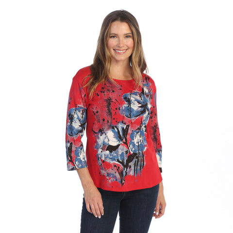 "Jess & Jane ""Red Dahlia"" Abstract Top in Red - 14-1555RD"