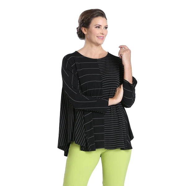 IC Collection Mixed Stripe Stretch Knit Tunic In Black - 3812T-BLK