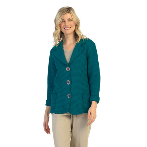 Focus Fashion Waffle Jacket in Pacific Teal Blue - SW203-PTBLU
