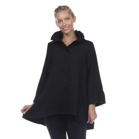 Moonlight Textured High-Low Shirt/Jacket in Black - 7961