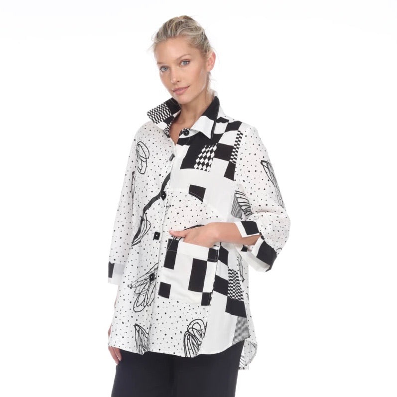 Moonlight Abstract-Print Blouse/Jacket in Black & White - 2999