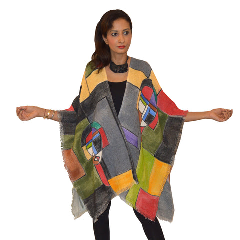 Dilemma Picasso Inspired Burlap Cape in Multi - GDAC-553-PIC