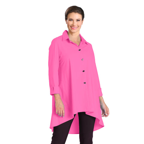 IC Collection Button Front High-Low Shirt/Jacket in Pink - 3815J-PNK