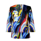 "Valentina ""Zig Zag"" V-Neck Print Top in Multi/Black - 21220"