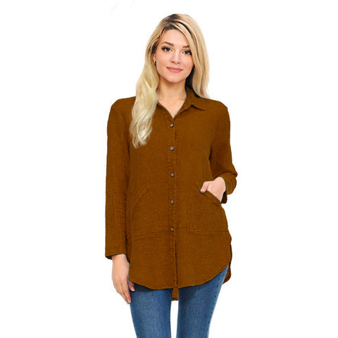 Focus Fashion Waffle Shirt Jacket in Toffee - LW-110-TOF