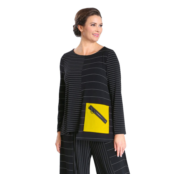 IC Collection Striped Tunic w/ Zip Pocket in Black/Yellow - 3852T-YLW