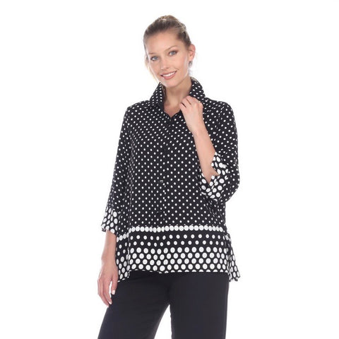 Moonlight Polka Dot Button Front Shirt in Black/White - 3101-CL