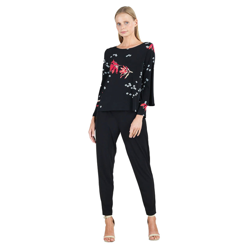 Clara Sunwoo Floral Print Top in Rose/Black - T18P6 - Size 1X Only