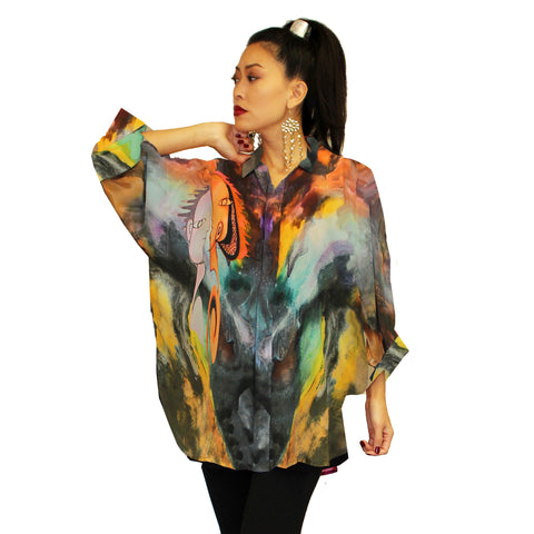 Dilemma Picasso Inspired Art Print Blouse - FRBS-231 PICASSO