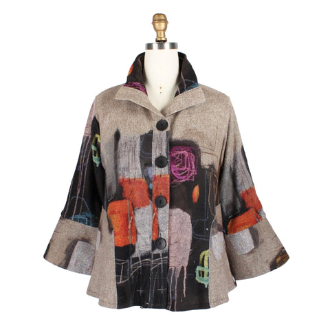 Damee Abstract Art Sweater Knit Jacket in Taupe/Multi - 4647 - Size M Only