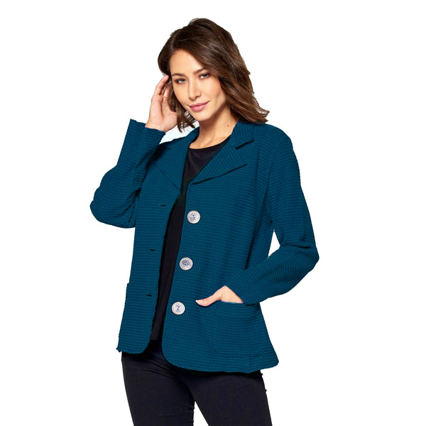 Focus Fashion Waffle Jacket in Deep Sea - SW203-DS