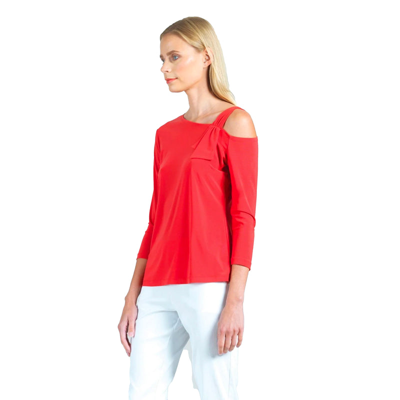 Clara Sunwoo Drop Shoulder Ribbon Detail Top in Coral - T9-CRL