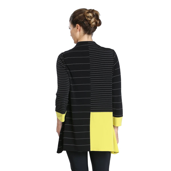 IC Collection Zip Front Colorblock Stretch Knit Tunic in Black/Yellow - 3846T-YLW