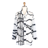 Damee Sheer Wavy Line Art Shirt in White/Black - 7068-WHT