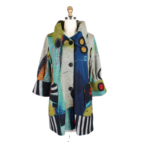Damee Abstract Art Sweater Knit Swing Jacket in Green/Multi - 4662
