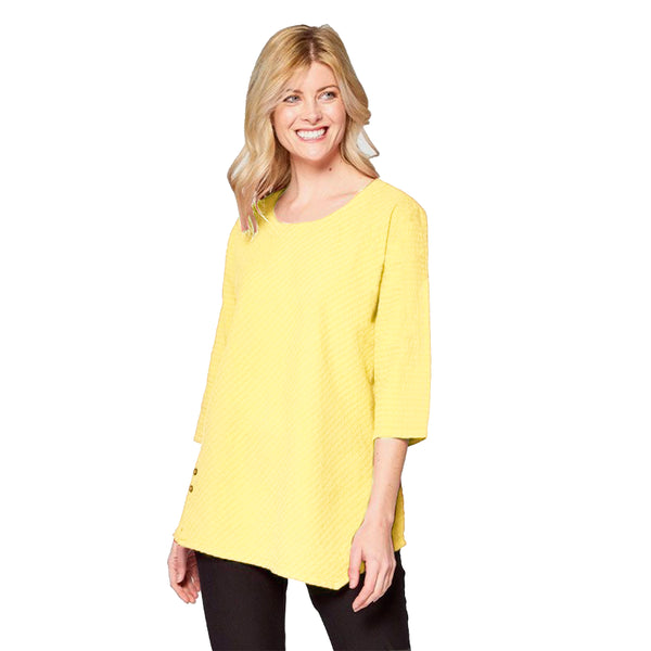 Focus Lightweight Waffle Tunic Top in Yellow - CS-131-YW