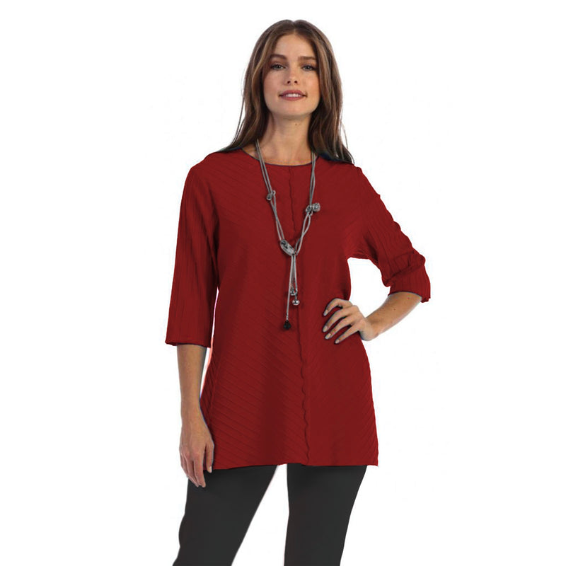 Focus Fashion Rib Textured Tunic in Brick - CS-342-BRK