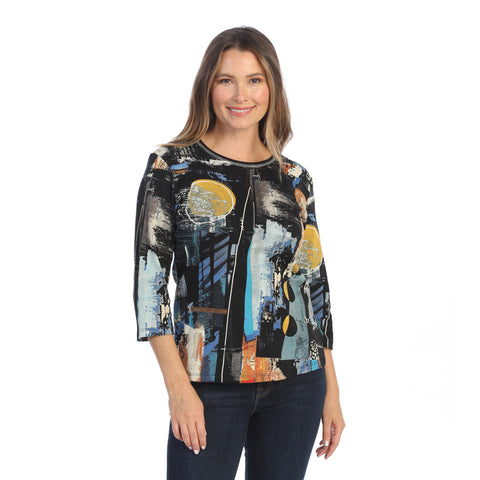 "Jess & Jane ""Denali"" Abstract Top in Black - 14-1549BK"