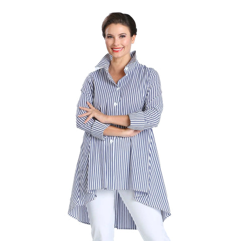 IC Collection Striped High-Low Shirt in Blue & White - 3833B-BLU