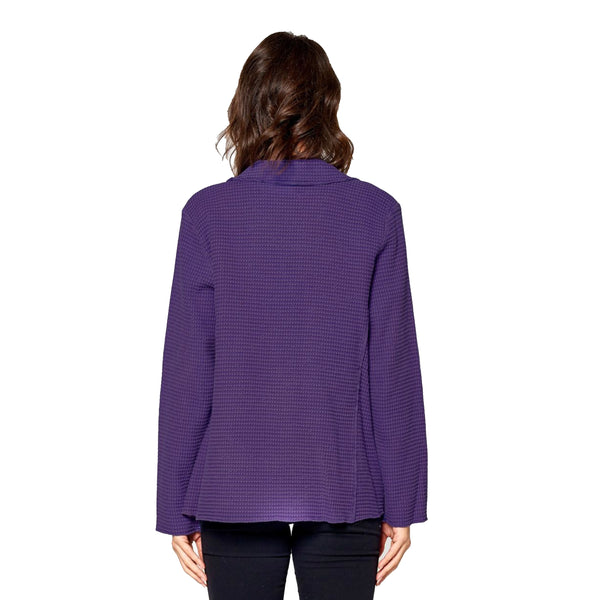 Focus Fashions Waffle Jacket in Blackberry - SW203-BB