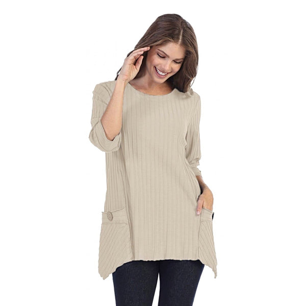 Focus Patch-Pocket Ribbed Tunic in Oatmeal - CS-330-OAT