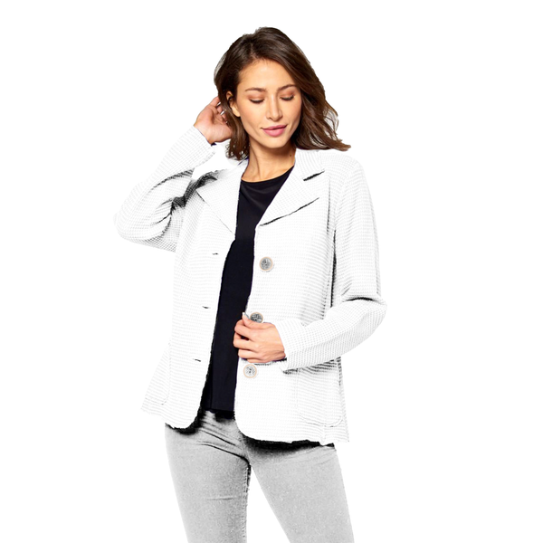 Focus Fashions Waffle Jacket in White - SW203-WHT