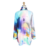 Damee Abstract Floral-Print Shirt in Blue/Multi - 7069-BLU
