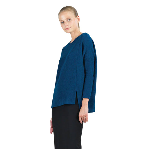 Envelope Hem Oversized Sweater Tunic Top in French Blue - T199W5 - Sizes S & L Only