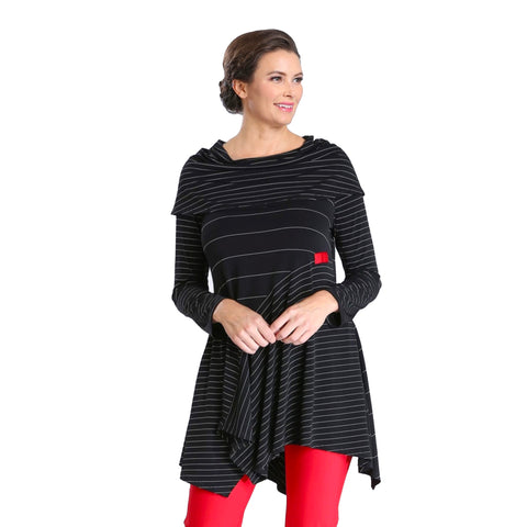 IC Collection Mixed Stripe Foldover Tunic in Black - 3847T