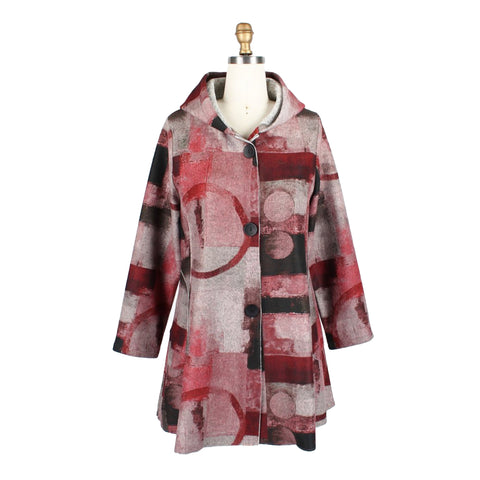 Damee Abstract Hooded Jacket in Cranberry/Multi - 4643-CRN