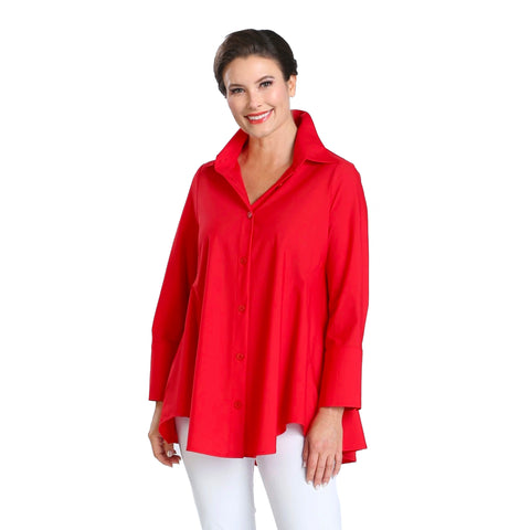 IC Collection Relaxed High-Low Blouse in Red - 3778B-RD