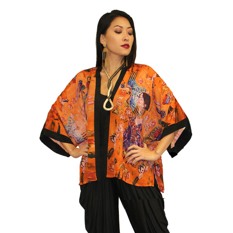 Dilemma Klimt Inspired Kabuki in Orange/Multi - NRK-107-KLMT