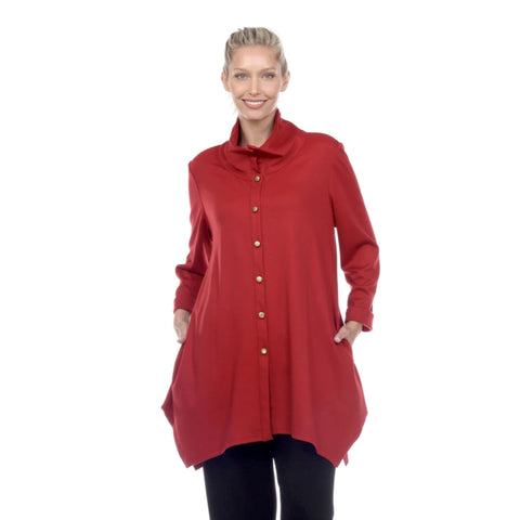 Moonlight Button Front Soft Knit Long Shirt in Red - 9185-RD - Size L Only