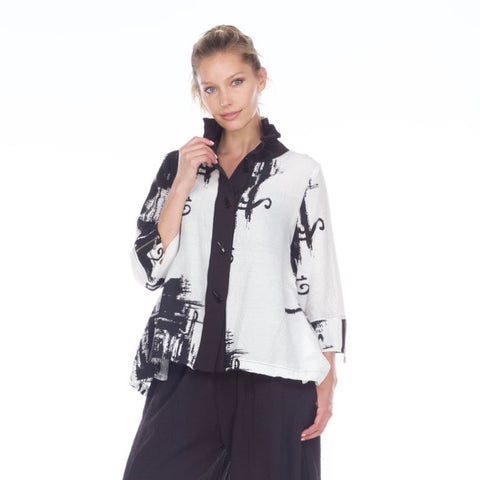 Moonlight Abstract Print Button Front Hi-Low Shirt in Black/White - 3062-WHT