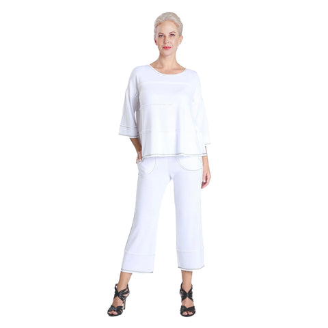 IC Collection Soft Knit Pull-On Pant in White - 3777P
