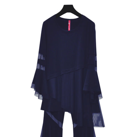 IC Collection Mesh Trim Tunic w/ Bell Sleeves in Navy - 3891T-NVY