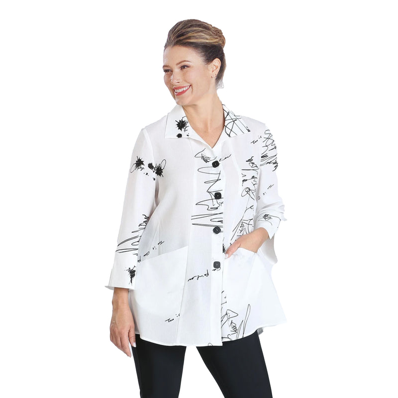IC Collection Abstract Sketch Print Blouse in White/Black- 2800J