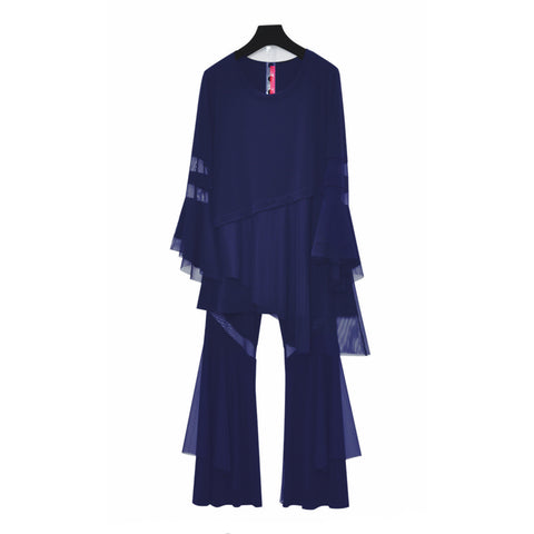 IC Collection Soft Knit Palazzo Pant with Mesh Stripe in Navy  - 3897P-NVY