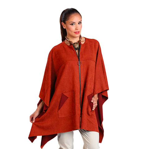 IC Collection Faux-Suede Zip-Front Cape in Tiger Orange - 1205PC-TORG