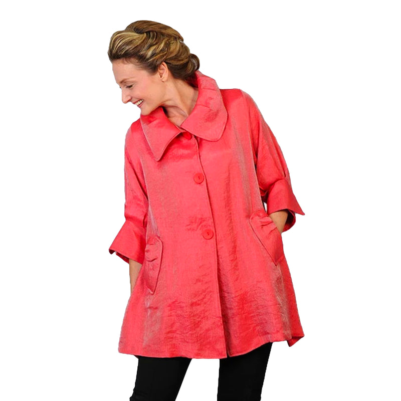 Damee NY Solid Signature Swing Jacket in Coral Red ♥ 200 -CRD