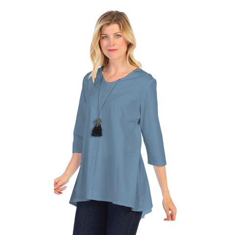 Focus Fashion Lightweight Knit Tunic Top in Dusty Blue - SC-115-DBLU
