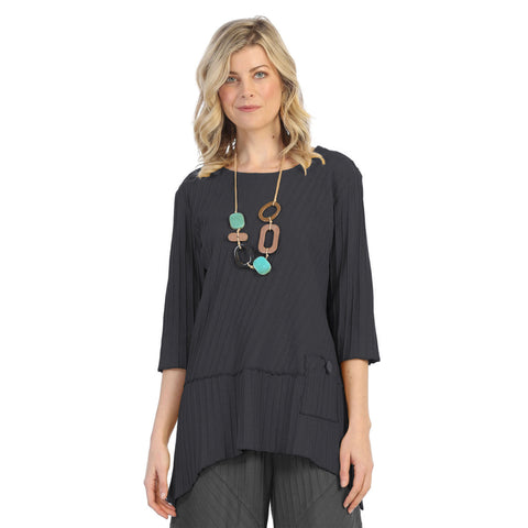 Focus Ribbed Pocket Tunic in Charcoal - CS-303-MIDCH