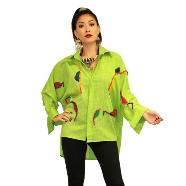 Dilemma Fashions Embroidered High-Low Shirt in Lime - GDB-531-LM