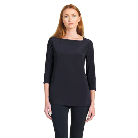Clara Sunwoo Boat Neck Tunic Top in Black - T39-BLK - Sizes XS, M & L