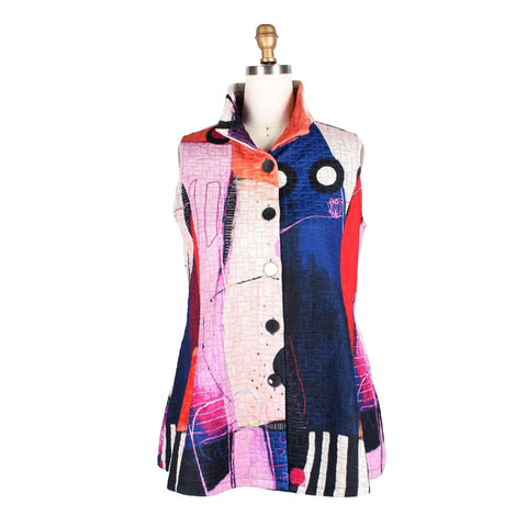 Damee Abstract Art Quilted Vest in Fuchsia/Multi - 3177-FCH
