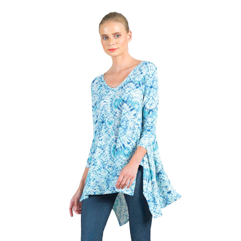 Clara Sunwoo Tie-Dye V-Neck Tunic in Blue  - TU24P2