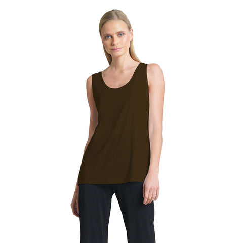 "Clara Sunwoo Mid-Length ""Extender"" Tank in Brown - TK73-BRN"
