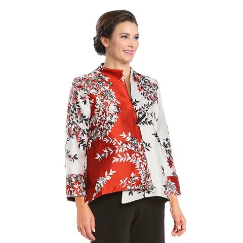 IC Collection Two-Tone Floral Jacquard Jacket  - 2389J