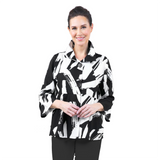 Damee Abstract-Print Button Front Jacket in Black/White - 4620-BLK